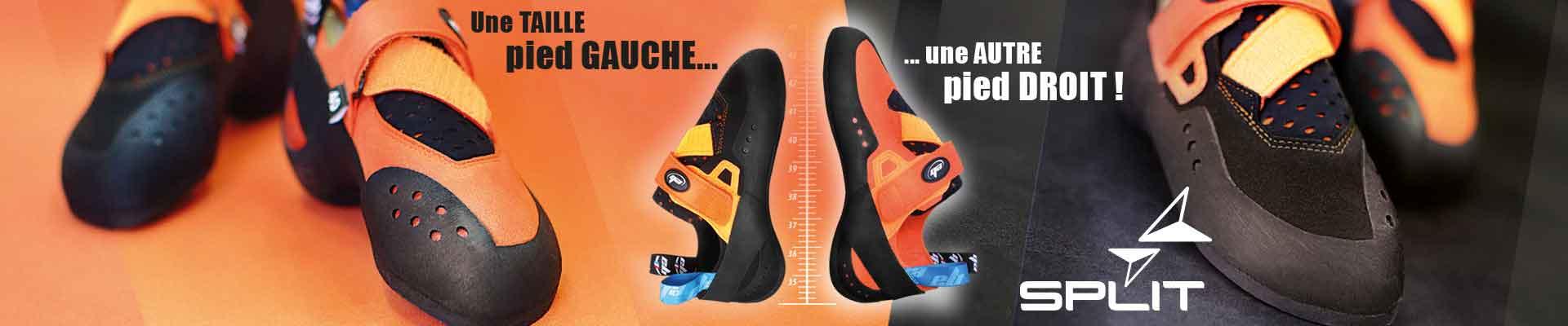 chausson d escalade split pied droit ou pied gauche