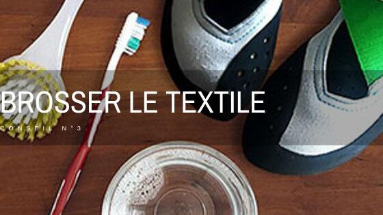 brosser la partie textile du chausson