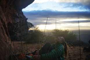 coucher de soleik sur les falaises