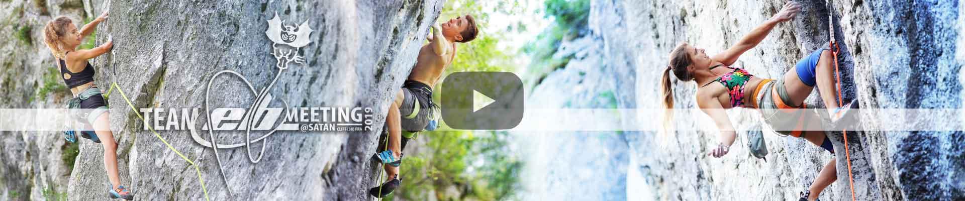 grimpeurs et grimpeuses du team EB à satan