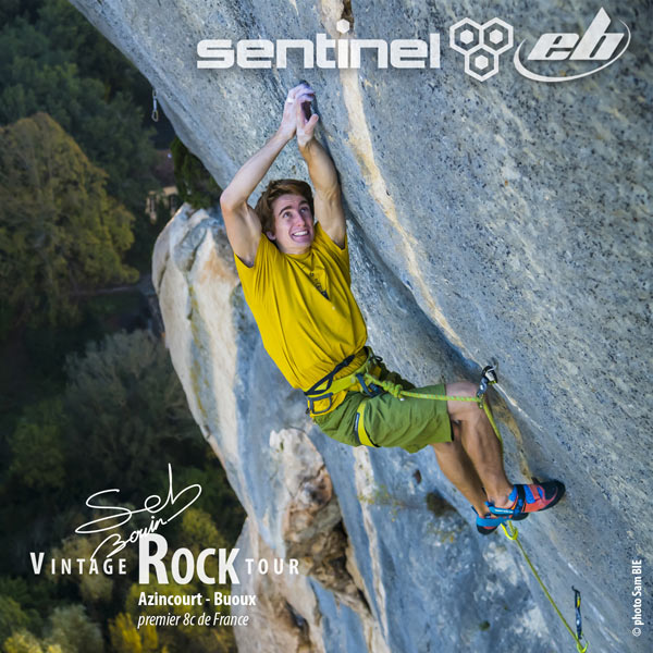 Le grimpeur Seb Bouin avec les sentinel aux pieds dans Azincourt à Buoux